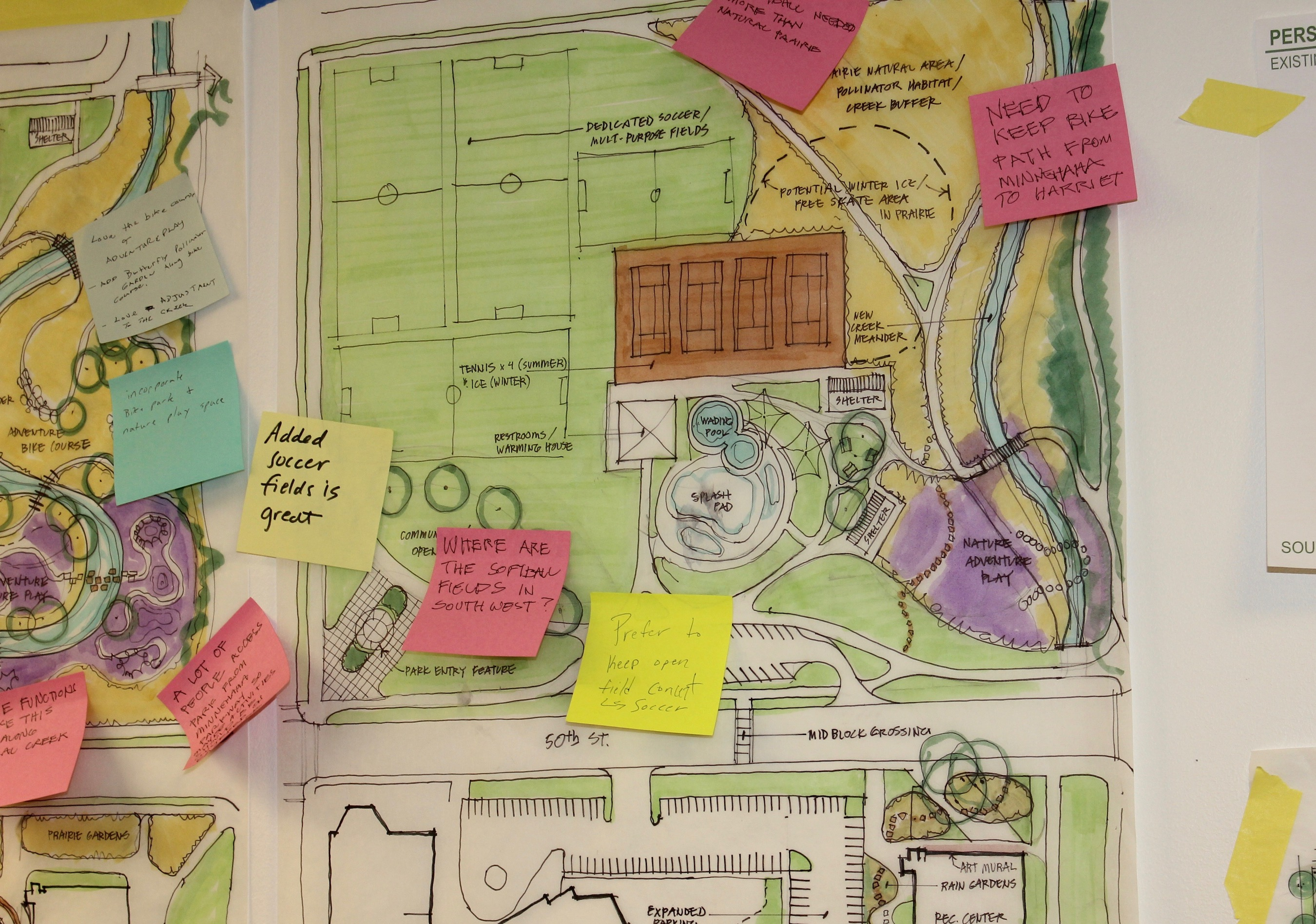 Post-it notes left by residents who came to the Southwest Area Master Plan open house on Nov. 15 give feedback to planners working on the future of neighborhood parks. Photo by Andrew Hazzard.