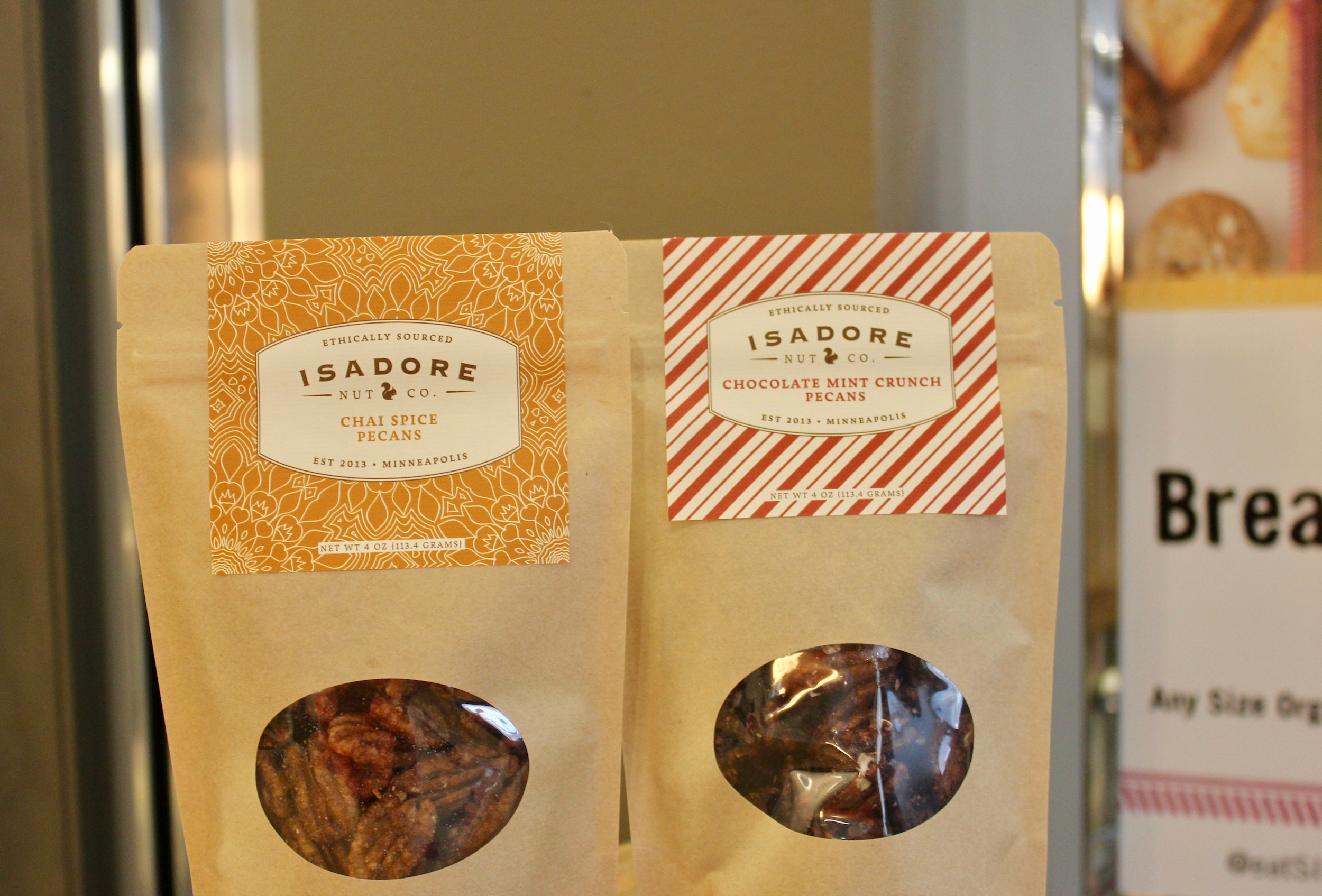 In addition to it's staple of nut mixes, Isadore Nut Co. has two seasonal batches out for the holidays: Chai Spice Pecans and Chocolate Mint Crunch Pecans.