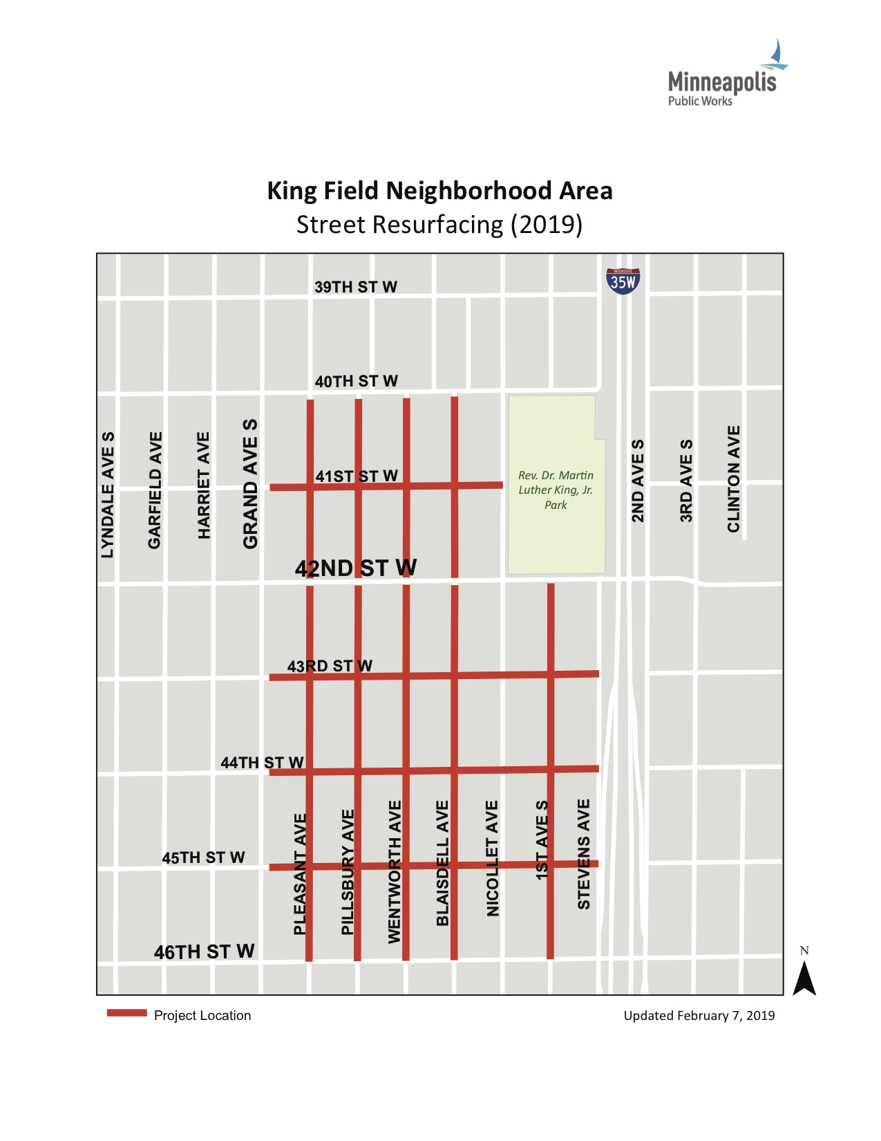 The Kingfield resurfacing project will include portions of nine streets in the neighborhood. Map courtesy City of Minneapolis