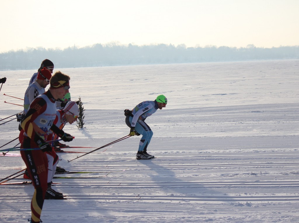 Skiers begin the classic marathon race on Feb. 2 on Bde Maka Ska. The 37-kilometer course went across Lake of the Isles, Cedar Lake and before eventually finishing in Theodore Wirth Park. Photo by Andrew Hazzard