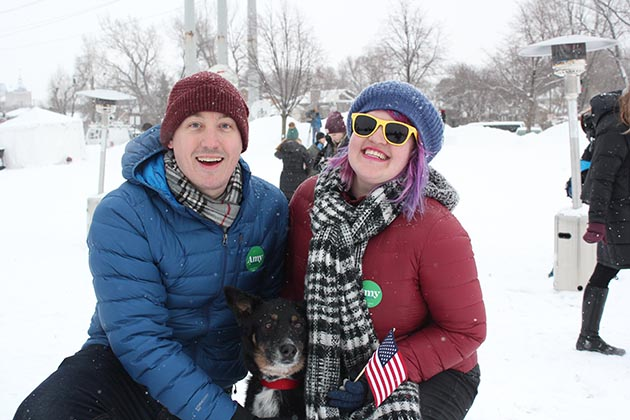 Chris Schmieg-Miller and Katie Schmieg brought their dog, Luna, to the Klobuchar campaign launch. Photo by Dylan Thomas