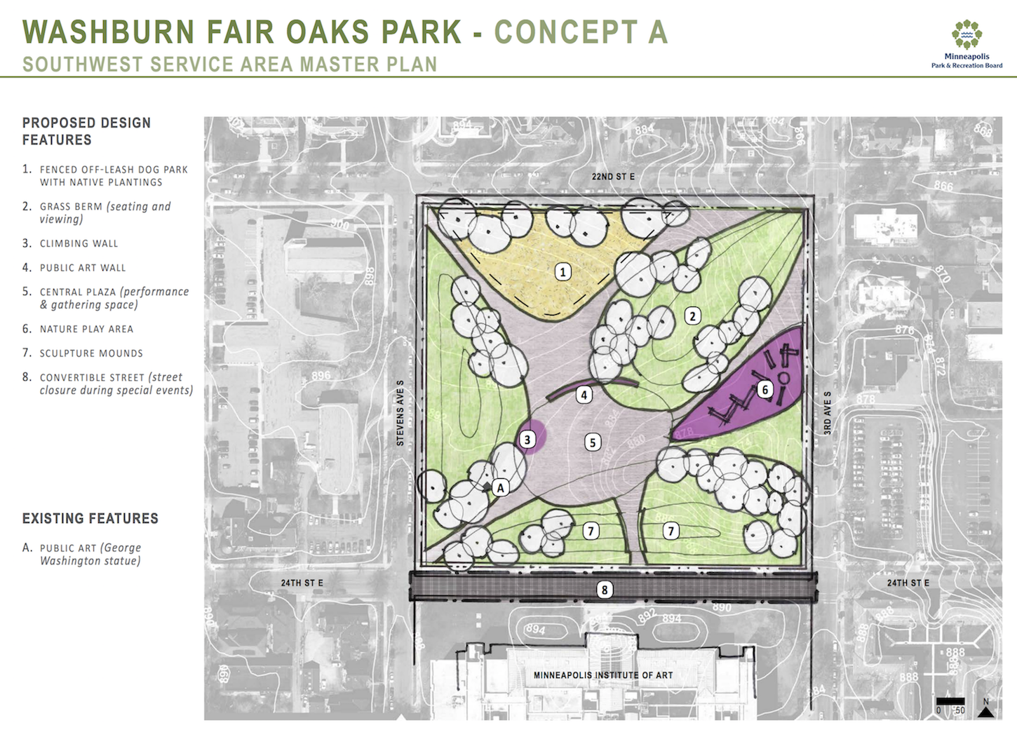 One of the concepts for Washburn Fair Oaks Park in Whittier. Image from Minneapolis Park and Recreation Board.