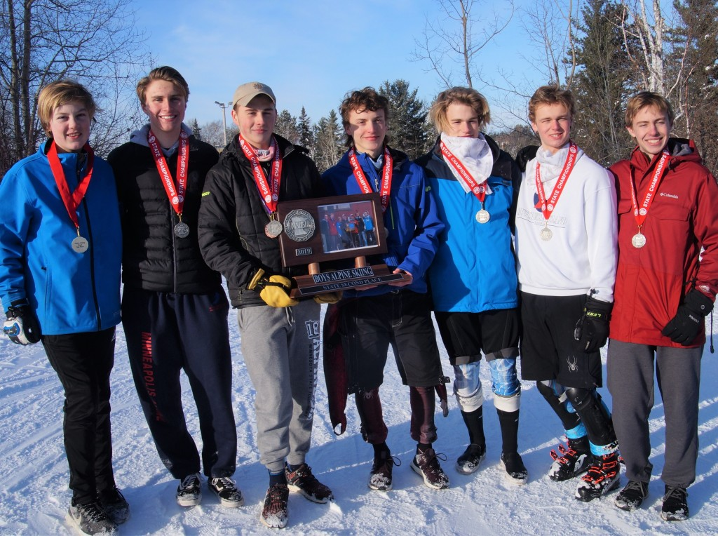 The Washburn High School boy's state alpine team (from left to right): L-R: Zach Bion, Luke Conway, Logan Griggs, Alexander Heath, Willem Robertson, Augie Bent, Wilson Psotka. Photo courtesy Mark Conway