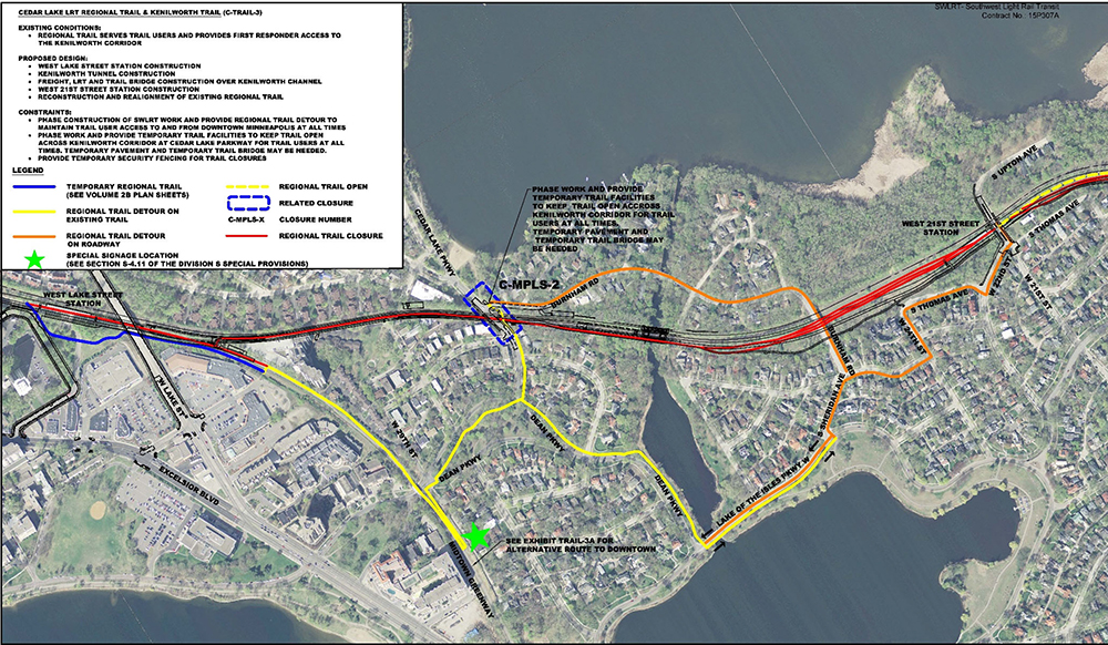 Bike traffic will be detoured from the Kenilworth Trail during construction. Submitted image