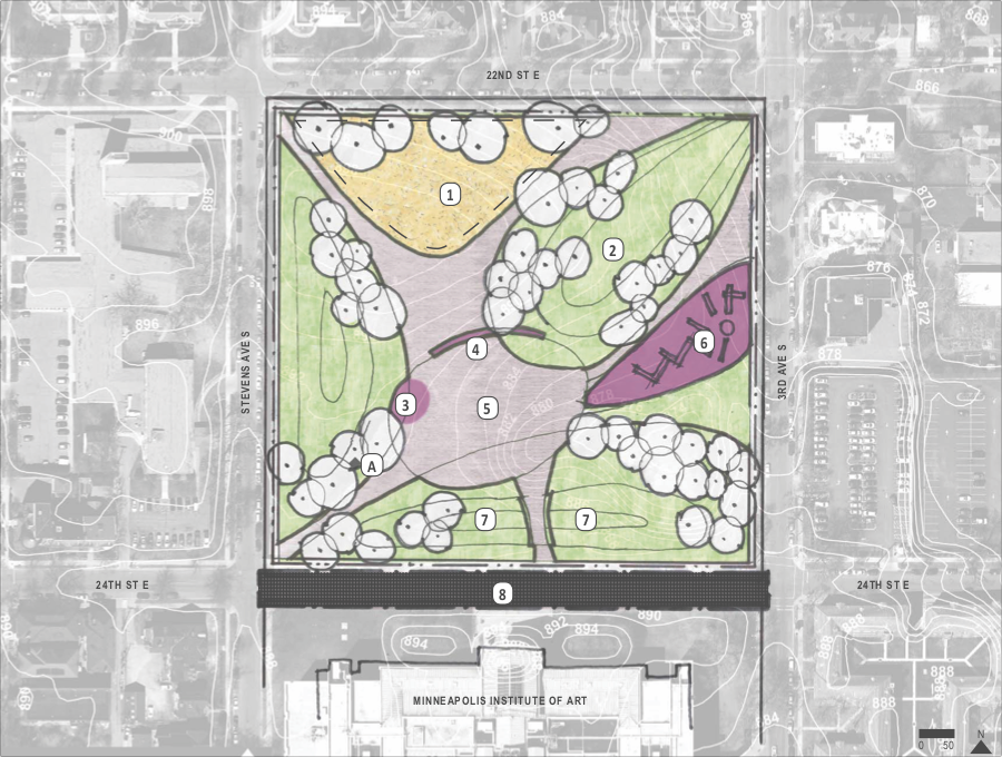 An early concept design for Washburn Fair Oaks Park in Whittier