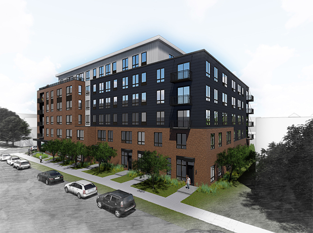 A six-story, 119-unit U-shaped building is proposed at 2701 Girard Ave. S. Submitted image