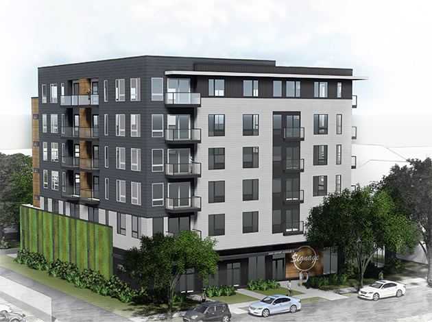 Plans for a six-story, 76-unit apartment building at 2832 Girard Ave. S. call for a green wall facing the parking lot behind the Piggy Bank restaurant in Uptown. Submitted image