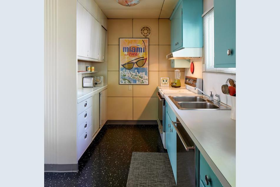 The kitchen of the Lustron home at 5009 Nicollet Ave.