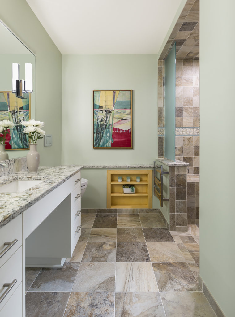 Green bathroom with elements of universal design