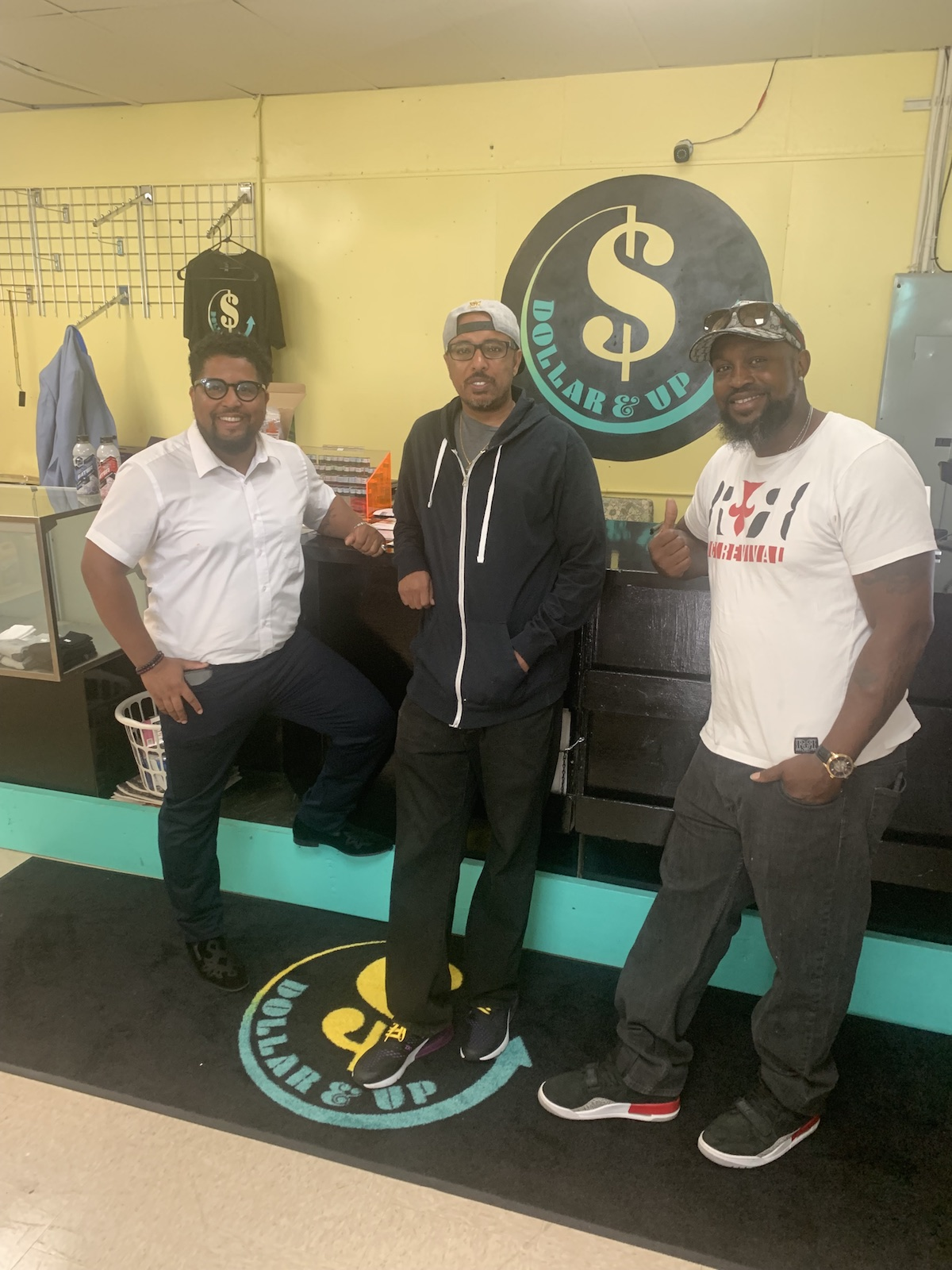 Dollar & Up co-owners DeParis Frazier, Nathaniel Haile and Harrison Hollivay.
