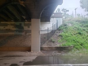 A south-facing view of the Midtown Greenway below the Bloomington Avenue bridge.