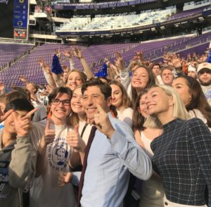 Minneapolis Mayor Jacob Frey posed for pictures with Washburn High School students