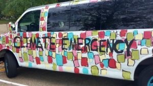 "The art van in its latest ""Climate Emergency"" incarnation."