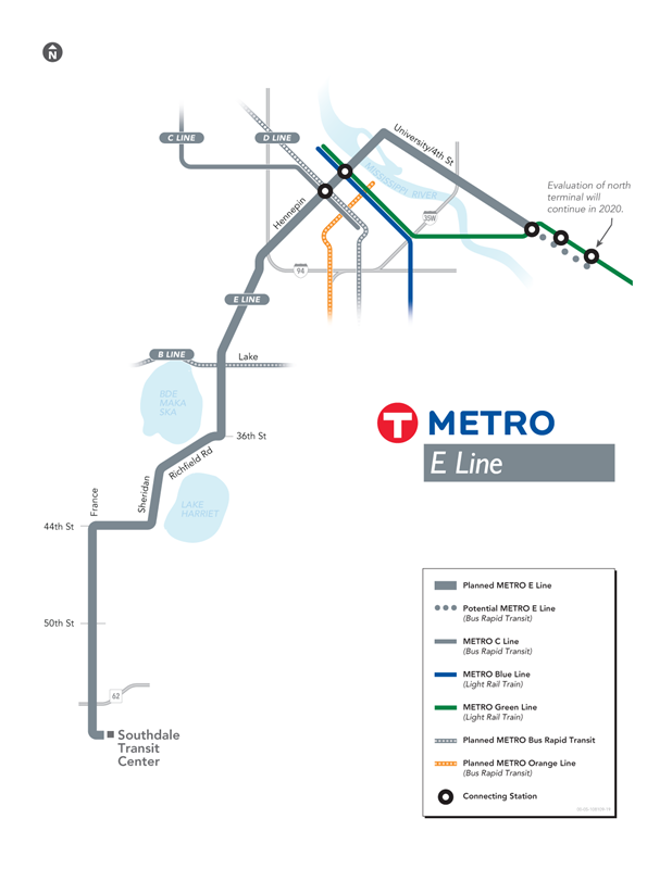 planned E Line bus rapid transit