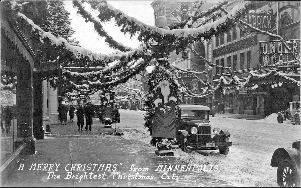 electric lights were strung throughout Downtown Minneapolis