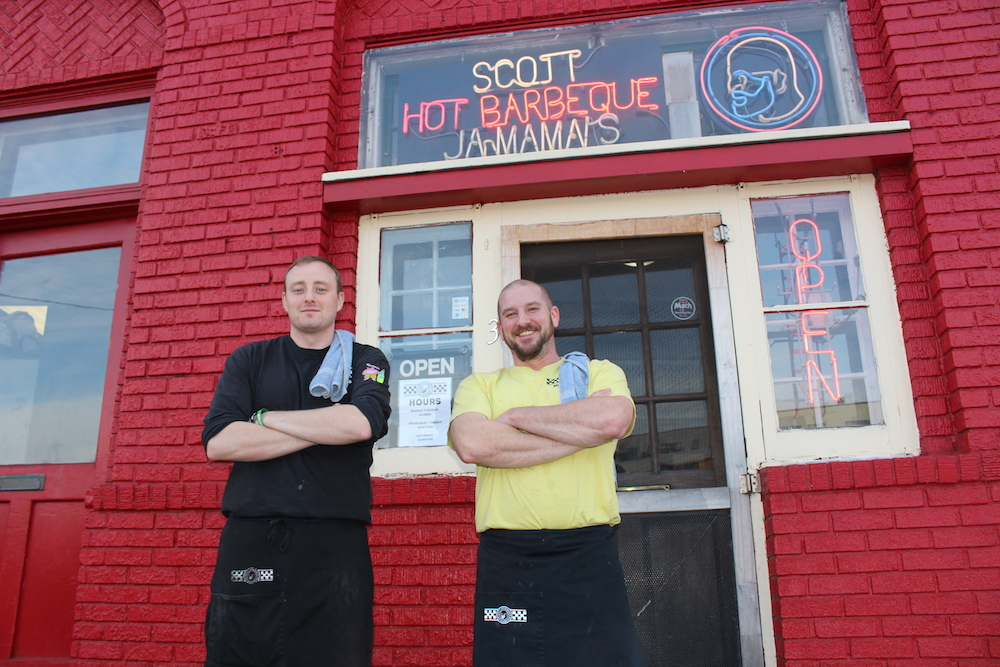 Frank Woolsey (left) and Joe Kenney have taken over management of the Windom barbecue restaurant Scott Ja-Mama's
