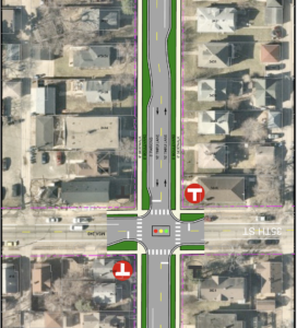 Rendering of proposed changes to Grand Ave. and 35th Street