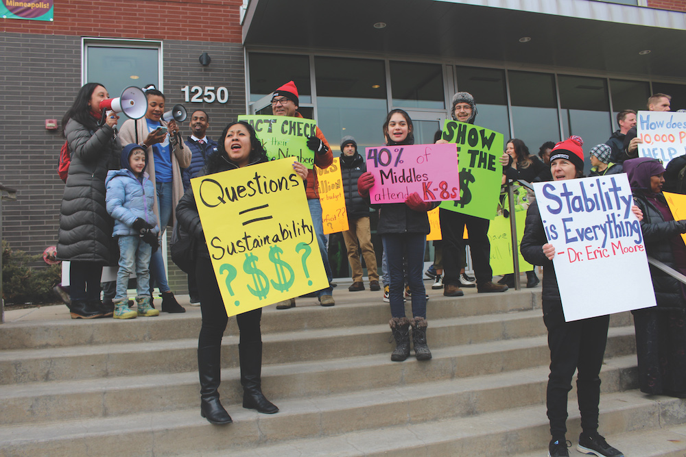protest a plan to remake Minneapolis Public Schools