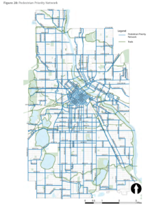 The Transportation Action Plan establishes pedestrian and bicycle priority networks