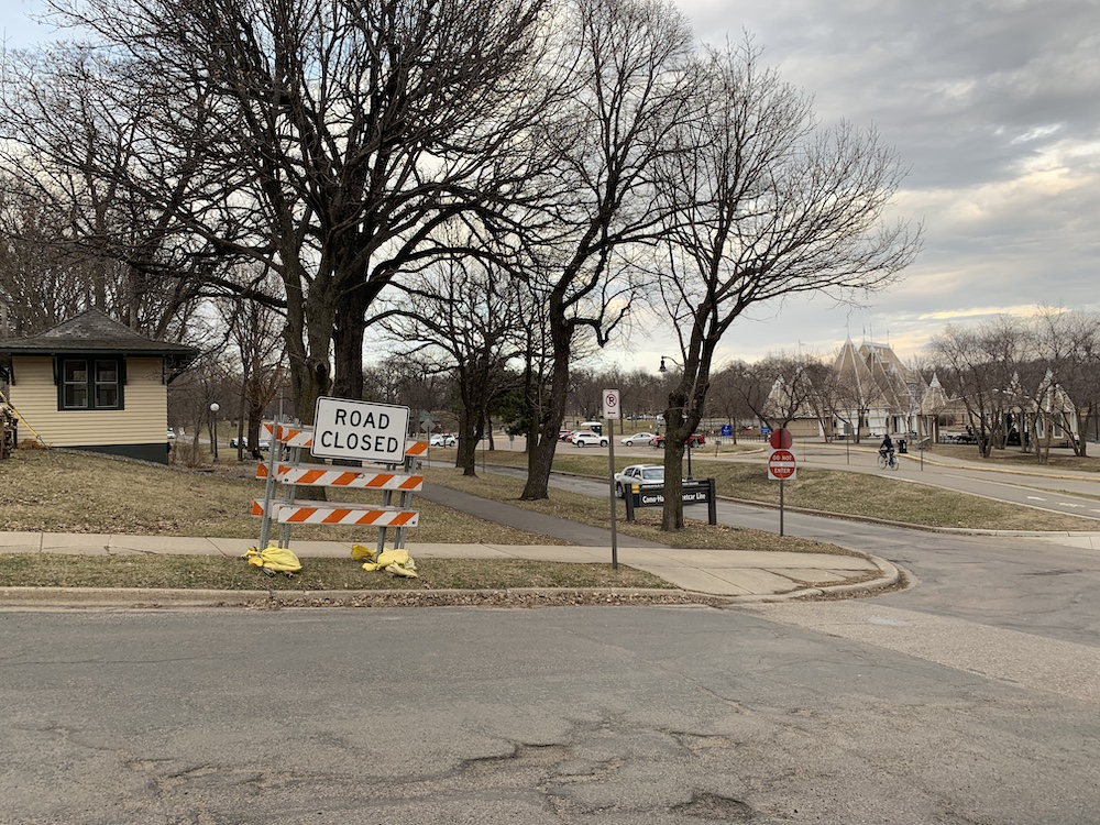 Officials prepared to block off the lower Lake Harriet Parkway