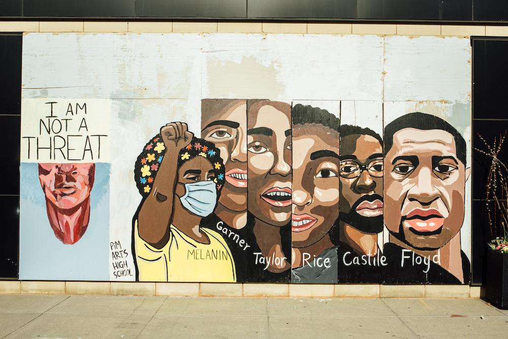 A mural painted by students