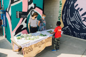 give away vegetables on MCAD's campus