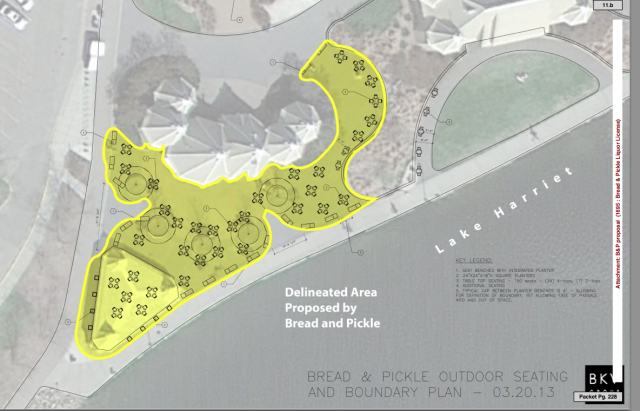 Bread & Pickle's proposal for seating at Lake Harriet