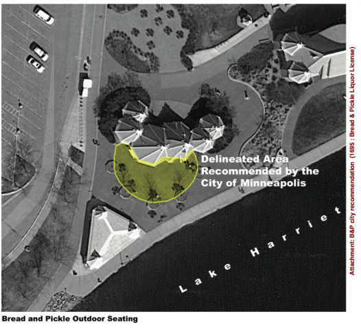 City proposal for seating around Bread & Pickle at Lake Harriet
